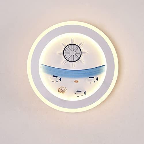QEGY LED Interior Aplique de Pared Redonda, Moderna Lámpara de Pared Habitación de Niños Creativo Cartoons Dormitorio Lámpara de Noche con 3 Temperaturas De Color Iluminación de pared,B