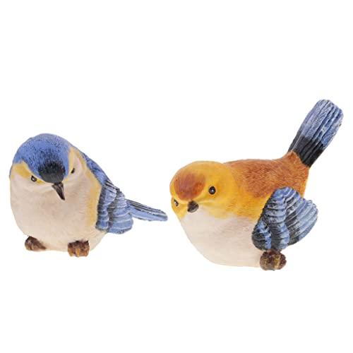 Blesiya Paire De Oiseaux de Simulation Résine Décoration Jardin Maison Cadeau Anniversaire Fête Idéal Orange Bleu