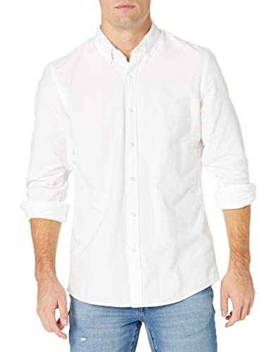 Goodthreads Regular-Fit Long-Sleeve Solid Oxford Shirt Camicia, Bianco (White), Medium