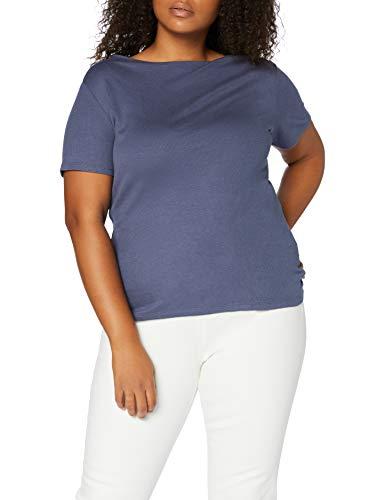 Amazon-Marke: MERAKI Damen T-Shirt mit U-Boot-Ausschnitt, Blau (Indigo), 46, Label: 3XL