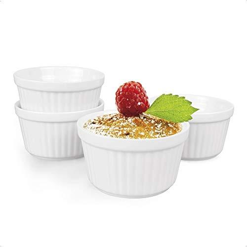 Auckpure Souffle Förmchen 4-teilig Set Auflaufform Klein Keramik, Creme Brulee Schälchen - 180ml, Förmchen für Muffins, Cupcakes, Dessertschale in weiß