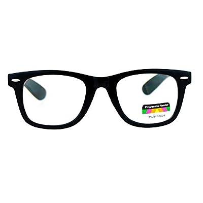SA106 Retro Horn Rim Multi 3 Focus Progressive Reading Glasses Black 1.0