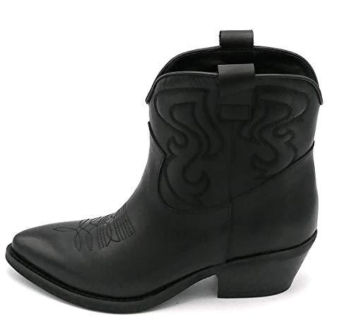 Ovye SO040 Stiefelette Texano Leder Schwarz Stickerei Englisch Absatz 4 cm Iw - Schuhgröße 37 EU Farbe Schwarz