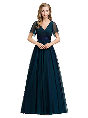 Ever-Pretty Vestito da Festa Donna Linea ad a Tulle Abito da Sera Scollo V Lungo Cerimonia Blu Navy 50