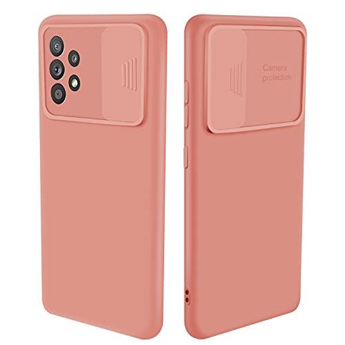 Funda para Samsung Galaxy A52 4G/5G, con tapa deslizante, suave y lisa, de silicona, resistente al polvo, color rosa