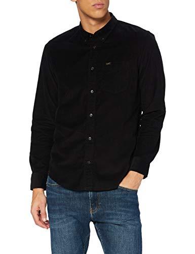 Lee Button Down Camisa con Botones, Black, XL para Hombre