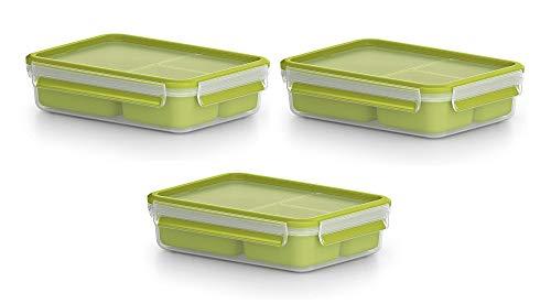 Emsa 3er Set Lunch- und Snackbox mit 3 praktischen Einsätzen und Deckel, Volumen: 1,2 Liter, Transparent/Grün, Clip & Go, 518100 x 3