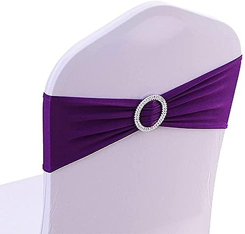 CNFQ - 50 fiocchi per sedia elastici, non è necessario essere legati, decorazione per matrimonio, festa, battesimo, colore: viola, 50
