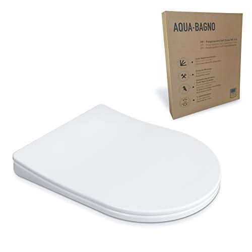 Aqua Bagno Diamond Universal D-Form Premium WC-Sitz - hochwertige Klobrille aus Polypropylen mit Softclose und abnehmbar - Toilettensitz - Klodeckel einfache Montage - easyclean Toilettendeckel