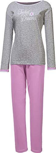 laritaM Schlafanzug Single-Jersey grau meliert/Lavendel Größe 44/46