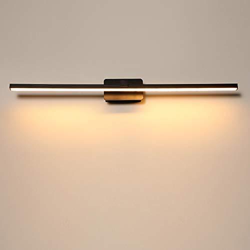 Einfach LED Spiegelleuchte Schwarz Wandleuchte Bad Badezimmer Spiegel Beleuchtung Schminktisch Vitrine Schminktisch Badezimmerschrank Lampe Innenbeleuchtung IP44 Warmes Licht 3000K,50cm