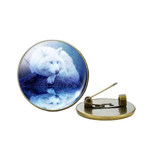 Insignia de Lobo y Luna Vintage Cristal Cabujón Lobo Broche Ropa Pin de Solapa Hombres Mujeres Accesorios Moda