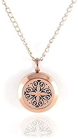 CJSZSD 1 unid 20mm oro rosa acero inoxidable aroma aceite esencial perfume difusor medallón collar colgante aromaterapia difusor joyería