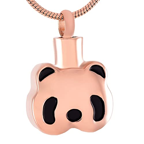 TIANZXS Lindo Panda Colgante de cremación de Acero Inoxidable Collar Cenizas urna de Recuerdo joyería para Mascotas Animal MemorialOro Rosa