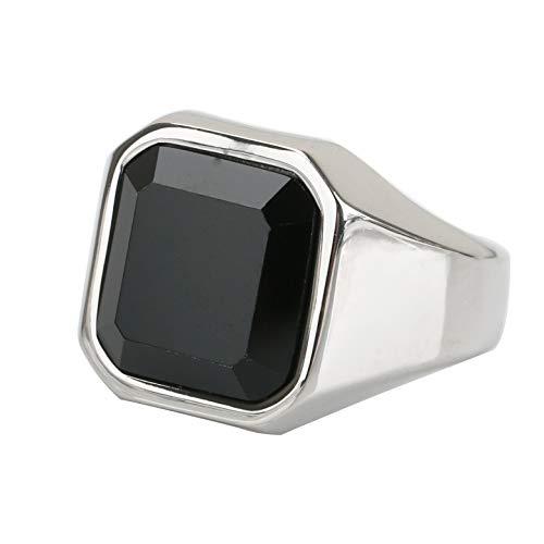 [silver KYASYA]STAINLESS 大粒 ブラック オニキス 印台リング 銀 金 印台リング ステンレス 大粒 ストーン 指輪 ハード 重厚 (シルバー, 17)