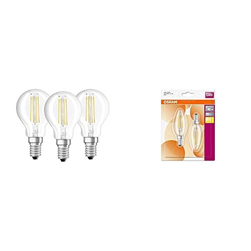 Osram Base Clas P Lampada Led E14, 4 W, Luce Calda, 3 Lamp & Star Classic B, Lampadina A Led, A Forma Di Candela, E14, 4W, Luce Bianca Calda, 10X 3.5X 3.5Cm, 2Unità