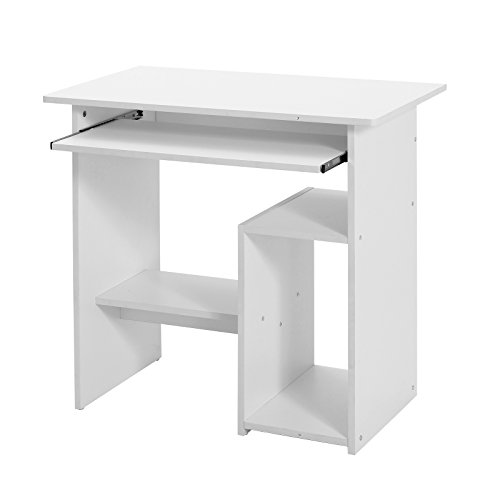 VASAGLE Bureau, Table Informatique, Table avec Support Clavier Coullissant, Montage simple, Stable, Table pour la maison et le bureau, Dimensions 45 x 80 x 74 cm, Blanc LCD852W