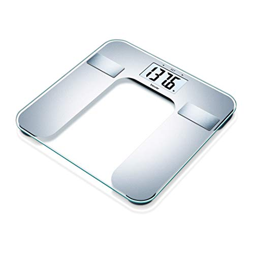 Beurer Body Fat Analyzer BMI, Multi-User & Recognition, Digital Bathroom Weight Scale, XL Display, BF130, Silver