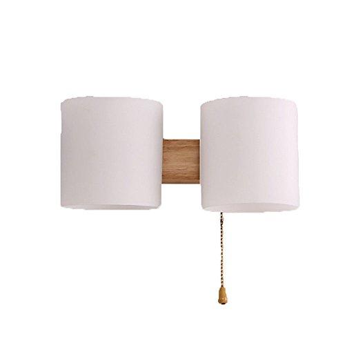Industriel rétro rustique lampe murale style rustique chambre salon salle à manger allée lumières Applique murale d'entrée de lampe de chevet en bois massif,double tête 30 * 30 * 20cm SjyLights