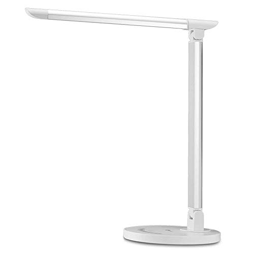 TaoTronics LED Desk Lamp, Eye-caring Table Lamps, Dimmable Office Lamp with USB Charging Port, Touch Control, 5 Color Modes, White, 12W
