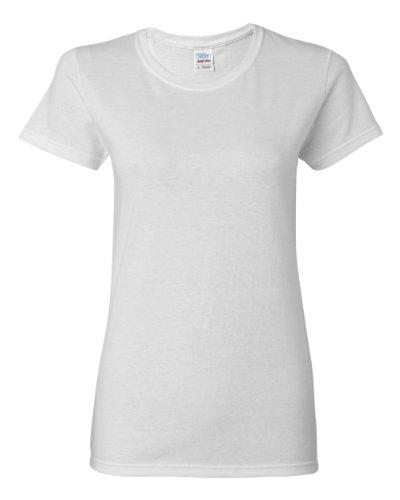 Gildan confezione da 5 pezzi, maglietta a maniche corte a tinta unita da donna, in cotone pesante, disponibile in tutte le misure + colori 5 x White 34
