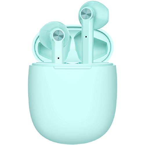 LETSCOM Wireless Earbuds, Bluetooth 5.0 Earbuds in Ear True Wireless Stereo Headphones, 20Hrs Playtime with Charging Case, Bluetooth Earbuds with Built-in Microphone for Sports and Work - Green