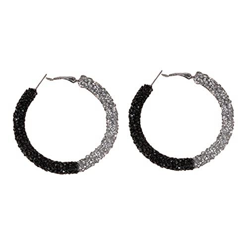 YHFJB Pendientes de aro redondos con brillantes de imitación y cierre de hebilla para mujer y niña, color blanco y negro