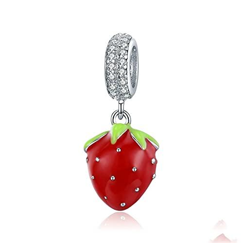 LISHOU DIY S925 Colgante De Suspensión De Fresa Roja De Plata Esterlina Er Charms Beads Fit Original Pandora Collar De Pulsera con Cuentas DIY Mujer Fabricación De Joyas