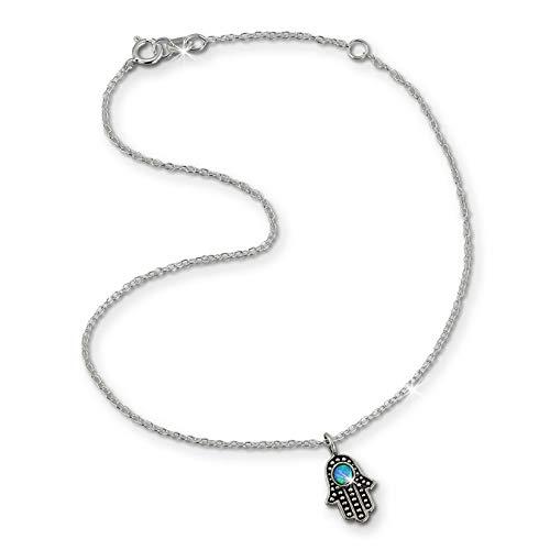 SilberDream Fußkette türkis für Damen Silberschmuck indische Hand 25cm SDF8002T
