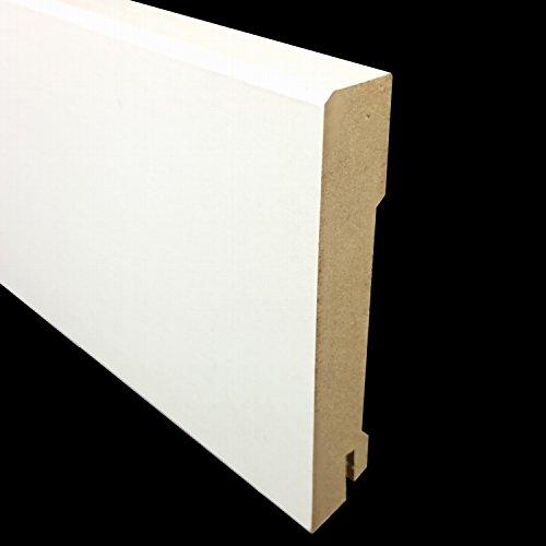 MDF Sockelleisten CUBE Farbe: Weiß | Format: Höhe: 70 und 10mm | Tiefe: 18 mm | Länge: 2500 mm | Sie kaufen 1 Stück (Sockelleiste Höhe: 100 mm)
