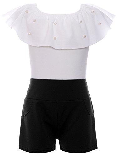 BEZLIT BEZLIT Jumpsuit Mädchen Overall Onesie Schulterfrei Einteiler 22688 Weiß Größe 104