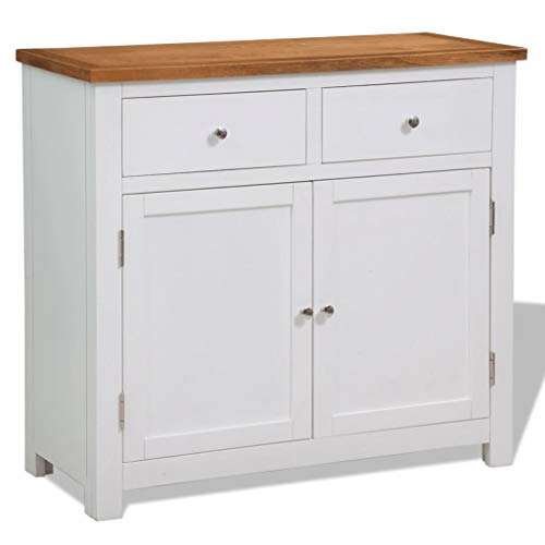 Sideboard with Cabinet and 2 Drawers | Modern Floor Storage Cabinet | Wood Buffet Cabinet | Wooden Buffet Table for Kitchen, Dining Room, Hallway | White and Brown Solid Oak Top with Acacia Wood
