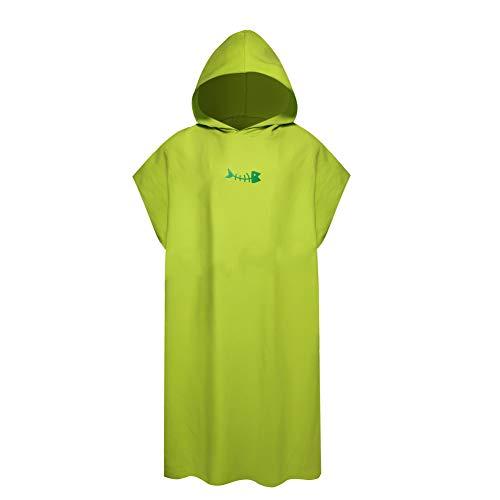 Toalla de baño para adultos y niños, con capucha para mujer, hombre, surf, natación, traje de baño, tamaño grande compacto y ligero, color verde