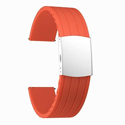 SOUWILA Correa Reloj Recambios Correa Relojes Caucho 16/18/20/22/24mm Silicona Correa Reloj con Acero Inoxidable Hebilla Desplegable (18mm, Orange-Silver)