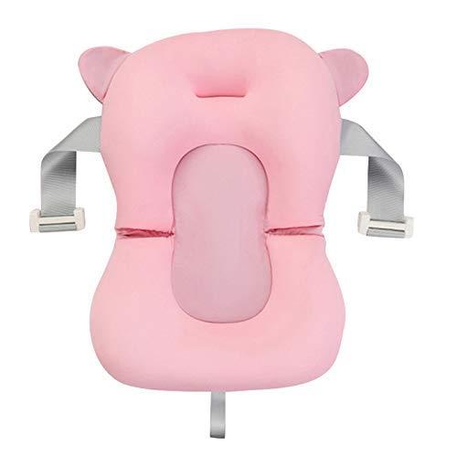 Reuvv Bebé Bañera Almohada Portátil Baby Shower Aire Cojín Cama Bebé Baño Natación Almohadilla Antideslizantes Bañera Flotar Tapete Soporte para Recién Nacido 0-6 Meses - Rosa