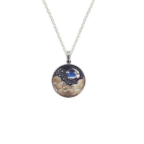 Easenhub exótico s925 plata esterlina cielo estrellado noche luna colgante redondo collar femenino para mujer moda natural piedra de luna colgante personalizado luna cadena de clavícula regalo