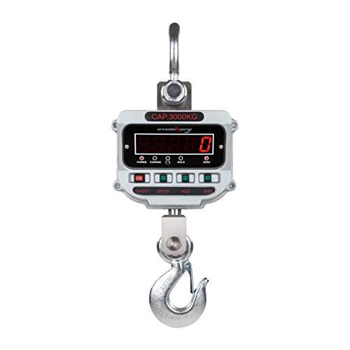 Steinberg Hakenwaage Professionelle Kranwaage SSBS-KW-3TE (3 t / 0,5 kg, Toleranz 0,033%, 26 x 64 x 19 cm, Betriebszeit 150 h, Adapter inkl. LCD)