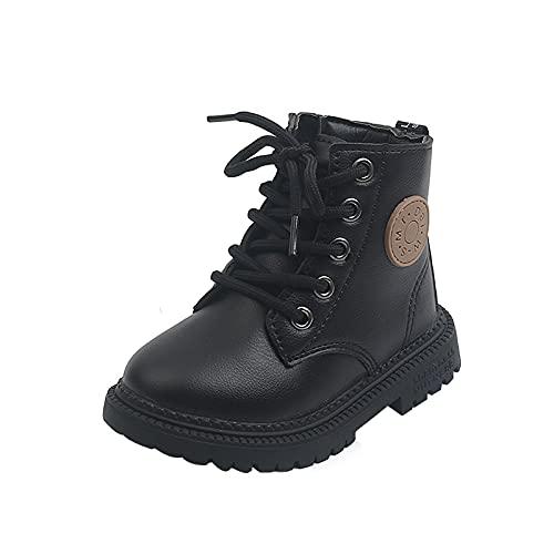 Baby Stiefel Jungen Mädchen Stiefel Mode Mittlere Stiefel Schuhe Warm Obermaterial Gummi Schuhe Halbhoch Schlupfstiefel mit Plateau rutschfest Combat Boots