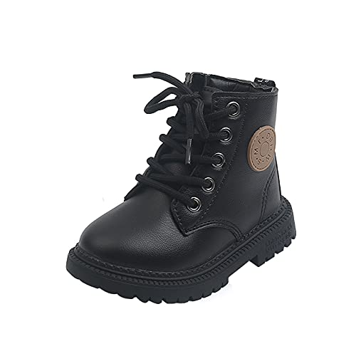 KewlCover Girls Ankle Boots, Lace Up Waterproof Combat Shoes for Little Kid/Big Kid Hiking Boots Anti-Slip Rubber Sole Outdoor Shoes
