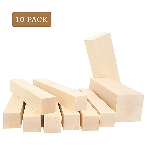 WOWOSS 10 Pack Unfinished Basswood Carving Blocks Kit, Large Premium Whittling Beginners Soft Wood Carving Block Hobby Set for Kids Adults Beginner to Expert