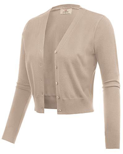 GRACE KARIN Women Cropped Open Front Knit Bolero Jacket Khaki Size M CL2000-8