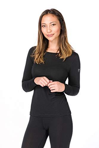 Super.natural Tee-shirt Manches Longues pour Femmes, Laine mérinos, W BASE LS 175, Taille: S, Couleur: Noir