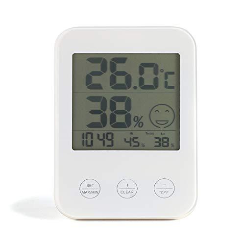 Weerstation thermometer en hygrometer binnen digitale klok (wandmontage mogelijk, temperatuurmeter, luchtvochtigheid, wit)