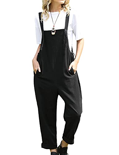 YESNO Women Casual Loose Bib Pants Overalls Baggy Cotton Harem Jumpsuits Rompers with Pockets PV2 (L PV2 Black)