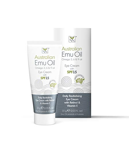 Y-Not Natural - Emu Oil Daily Revitalizing Eye Cream with Retinol, Vitamin E, A, C & D (15 g Tube) | SPF 15 Sun Protection Anti Aging Facial Skin Care to Reduce Puffiness, Fine Lines & Dark Spots
