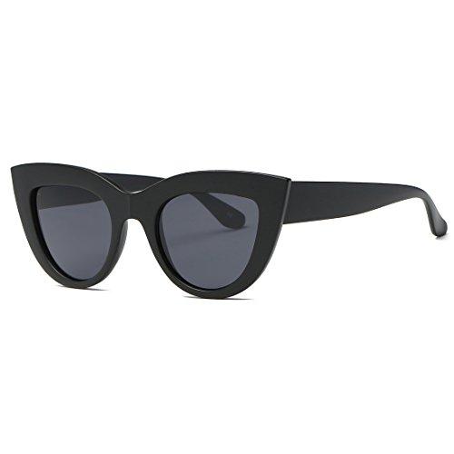 kimorn Gafas De Sol Para Mujer Bisagras De Metal Ojos De Gato Marco De Plástico K0568 (Mate&Negro)