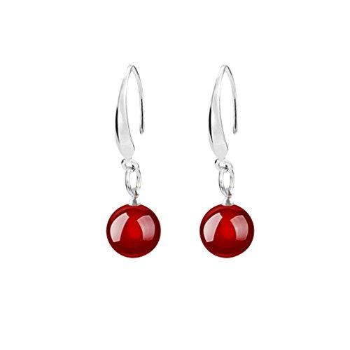 Bobury Accesorios de joyería Pendientes de ágata Natural Femenina Pendientes de Platino Plateado