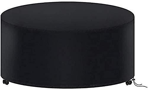 ガーデン家具カバーパティオラウンド弾性テーブルカバーMAYHOUR防水防風ドローストリング210Dオックスフォードファブリック屋外屋内チェアデスクカバーアンチUVスノープロテクションブラック (185×110cm)