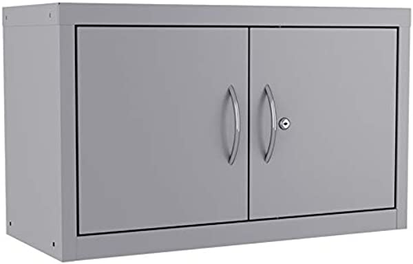 Pemberly Row Wall Mounted Upper Cabinet 18x30x13 Adjustable Shelf In Platinum