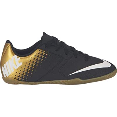 Nike Kids Jr Bombax Indoor Soccer Shoe Black/White/Metallic Vivid Gold Size 6 M US